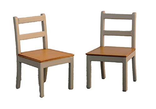 Melody Jane Dolls Houses Puppenhaus 2 Grau & Kiefer Speisezimmer Stühle Modern Miniatur Küchenmöbel