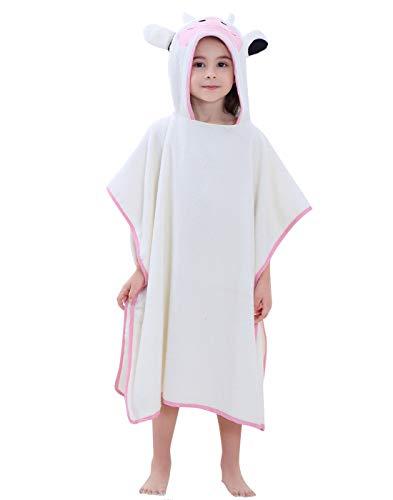 Happy Cherry Toalla de baño poncho infantil con capucha, para niñas y jóvenes, albornoz de playa, poncho, poncho, animal, con capucha, para niños de 2 a 7 años 2 vacas talla única