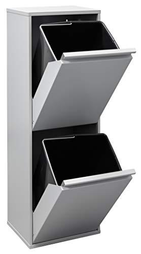 Arregui Basic Cubo de Basura y Reciclaje de Acero de 2 Compartimentos, Gris Claro, 90,5 x 30,5 x 24,5 cm