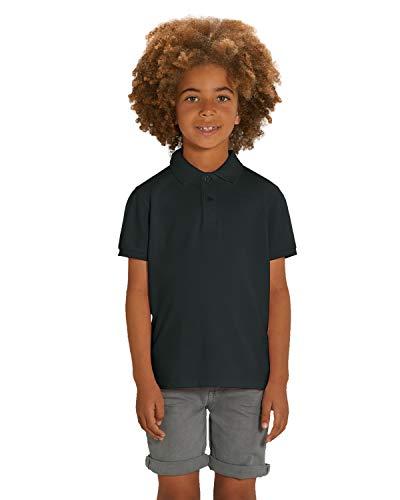 Hilltop Hochwertiges Kinder Poloshirt aus 100% Bio-Baumwolle für Mädchen und Jungen. Eignet sich hervorragend zum bedrucken. (z.B.: mit Transfer-Folien/Textilfolien),Schwarz,152/164