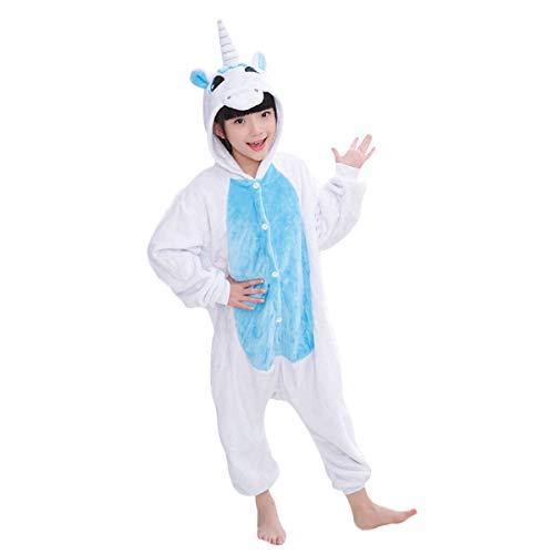 DEBAIJIA Pijama Animal Unicornio para Niños Niñas Disfrace Cosplay Franela Traje del Anime Invierno Calentito Pyjamas Navidad Onsie Azul-115