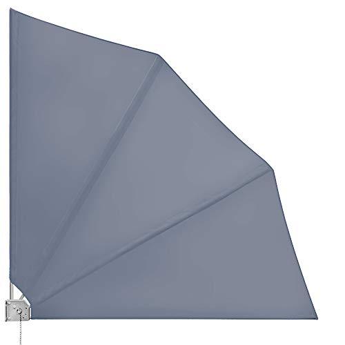 Deuba - Brise Vue rétractable - Brise Vue Balcon - Eventail de Balcon Pliable • 140x140cm • Anthracite • avec Fixation Murale