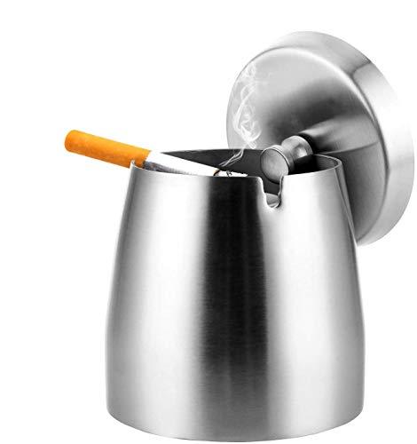Edelstahl Aschenbecher mit deckel, Großer Edelstahl Aschenbecher Windgeschützt, Rutschfester Tischaschenbecher,Sturmaschenbecher Edelstahl (Large, Silber)