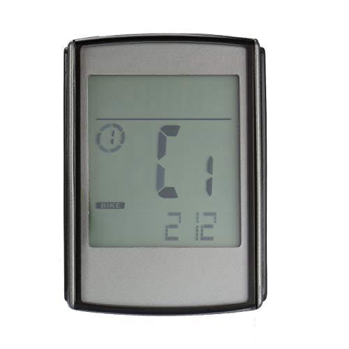 BC235 Profesional Inalámbrico Multifunción Pantalla LCD a Prueba de Agua Bicicleta Computadora Cuentakilómetros Velocímetro Monitor de Ritmo cardíaco (Gris y Negro) ESjasnyfall