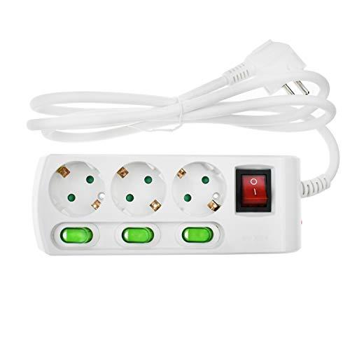 3-fach Steckdosenleiste einzeln schaltbar 3m Kabel Überspannungsschutz weiß Wandmontage geeigtnet für 230V 16A 3500W