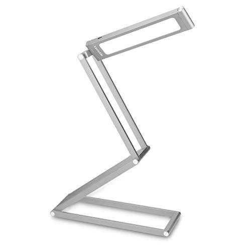 kwmobile LED Aluminium Tischlampe mit Schwenkkopf - Akku Leselampe faltbar mit Micro USB Ladekabel - Alu Schreibtischlampe Faltlampe in Silber