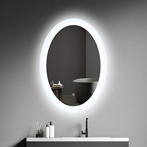 MIRPLUS 20 x 28 inch Oval LED Mirror Bathroom Lighted Makeup Mirror