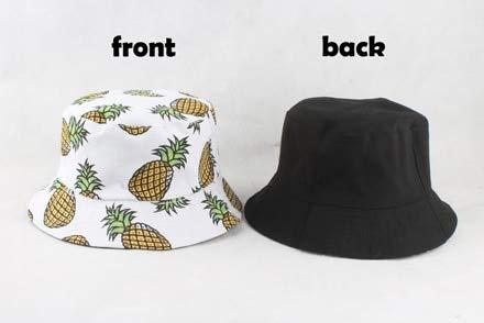 Sombrero de Cubo para Hombres y Mujeres, Gorra de Verano con Estampado de plátano, Sombrero Amarillo,Sombrero de Hip Hop, Gorros, Sombrero de Pescador de Pesca-Pineapple White