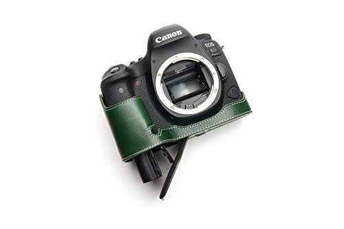Canon キャノン EOS 6D Mark II 6D2 専用本革カメラケース バッテリー交換可能タイプ (底面開閉) (本革カメラケース バッテリー交換可能タイプ, グリーン)