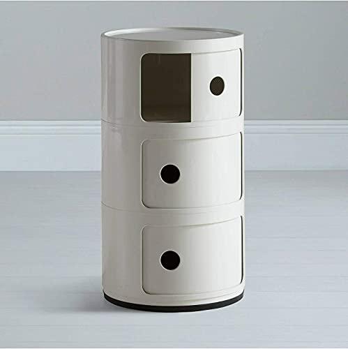 Costello® COMPONIBILI Beistelltisch mit 3 Ebenen, für Kaffee, Telefon, Nachttisch, Konsole, Bücher, Snacks, wasserdicht, ABS-Kunststoff, Weiß