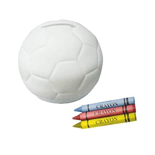 DISOK Lote de 20 Huchas Infantiles de Cerámica Balón de Fútbol para Colorear con 3 Ceras Incluidas - Detalles, Regalos y Recuerdos para Bodas, Fiestas Cumpleaños y Comuniones Originales Baratos
