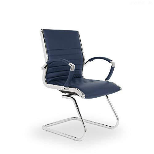 VERSEE Design Besucherstuhl Montreal - Echt-Leder - blau - Konferenzstuhl, Freischwinger, Schwingstuhl, Meetingstuhl, Besprechungsstuhl, Bürostuhl, mit Armlehnen, 150 kg belastbarkeit