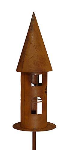 Bornhöft Edelrost Gartenlicht Windlicht Vogelhaus Schmal am Stab Windlicht Futterstelle Gartendeko 169cm