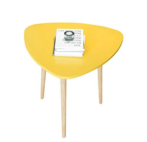 Dongy houten bijzettafel gele salontafel kleine eettafel computertafel 40 x 40 x 42 cm
