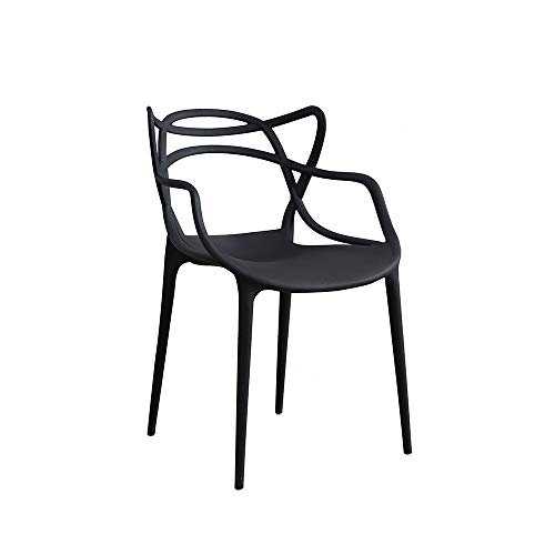 Panana Set Of 4 Chairs Black Style indoor outdoor Modern Retro Dining Garden Chairs (Black)