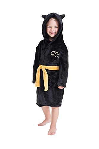 Boys Robe Toddler Bathrobe Kids Black Hooded Pajamas Plush Sleepwear (Black bat robes, 2-3T, 2_years)