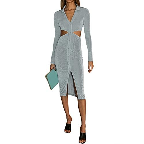 Siyova Vestido de mujer sexy con cuello en V, columpio de manga larga, elegante y ajustado, Celadon, L