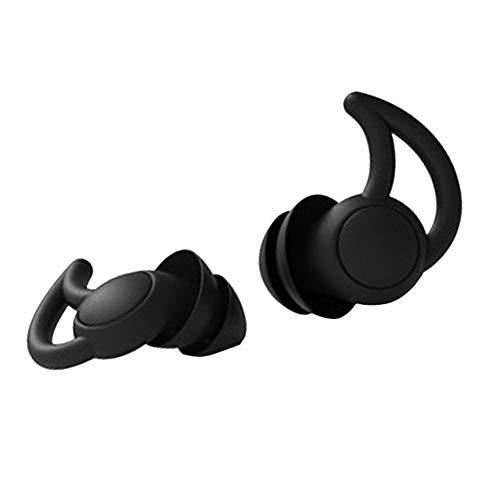 Tapones para Los Oídos Antirruido Tapones para Los Oídos Reutilizables Y Ultra Suaves con Cancelación De Ruido Tapones para Los Oídos para Dormir Roncar Trabajar Viajar (Negro,Dos Capas)
