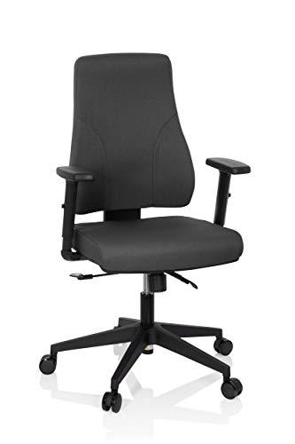 hjh OFFICE 810018 Profi Bürostuhl Mathes Stoff Grau Drehstuhl ergonomisch, Rückenlehne & Armlehnen höhenverstellbar