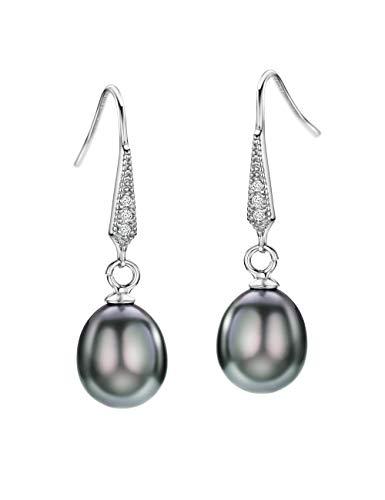 Black Freshwater Pearl Earrings Dangle Drop Sterling Silver Earrings Diamond Accented Fine Jewelry for Women
