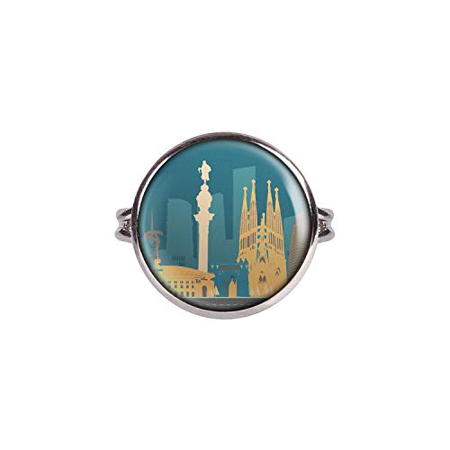 Mylery Anello con Motivo Skyline Barcellona, Spagna Sagrada Familia Madonnina Argento 16mm