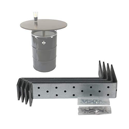 Rogge´s RelaxGrill Stahlhalter H3R für Montage Einer Tischplatte auf 210 L Stahlfass, Ölfass, Holzfass als Stehtisch, Konsolen
