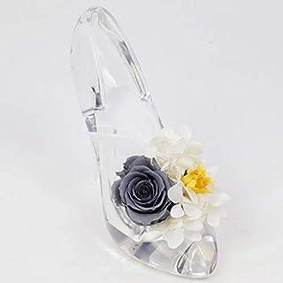 [ALICE FLOWER] 刻印済み シンデレラ ガラス靴 プリザーブドフラワー 一輪(大花)羽付 アクリル フラワーアレンジメント