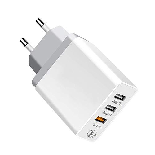Quick Charge 30W Cargador 3.0 Cargador de Viaje Enchufe Cargador USB Carga Rápida con 3 Puertos carga rápida Adaptador de Corriente para iPhone x 8 7 Xiaomi Pocophone F1 Mix 3 A1 Samsung S10 S9 S8