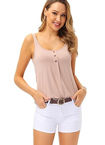 TrendiMax Damen Top Ärmellos Sommer Oberteil Baumwolle Tank Top Knopfleiste Bluse Tops Einfarbig T Shirt