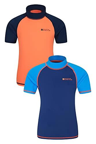 Mountain Warehouse Kurzarm Badeshirt für Kinder - LSF50+, Schwimmshirt, Flache Nähte, Rash Guard für Jungen & Mädchen - Für Schwimmen & unter einem Neoprenanzug Blau 9-10 Jahre