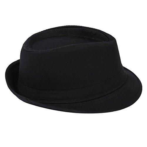 SODIAL(R) Fedora Negro Sombrero Liso para Traje Accesorio para Gangster Vestido de Lujo
