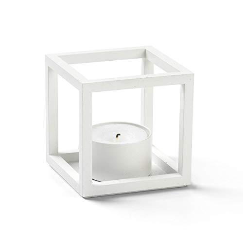 By Lassen - Kubus T - Teelichthalter, Kerzenhalter - Farbe: Weiß - Maße: 7 x 7 cm