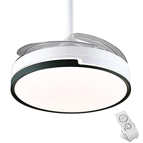 Moderno ventilador de techo con 72w Color de 3 luces, ventilador de techo con iluminación LED regulable y control remoto inversor, blanco + cuerpo negro, motor de cobre silencioso, 42 pulgadas AC 110-