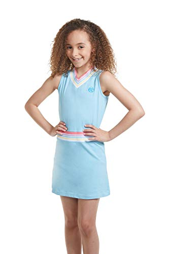 Girl Tennis Outfit – Sleeveless V Neck Tennis Dress with Shorts Blue/L