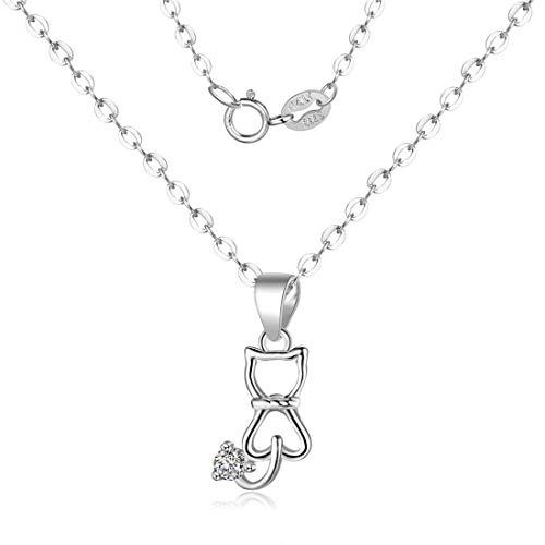 Canarea Dames- en meisjeshalsketting met hanger, echt 925 sterling zilver, schattige ketting, korte Y-ketting, hypoallergeen, verjaardagscadeau voor vrouwen, vriendin, dochter