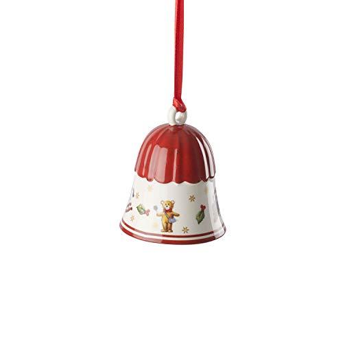Villeroy & Boch Toy's Delight Decoration Adorno de Navidad Campana, Porcelana, Rojo/Blanco/Dorado