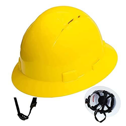 Casco de Ala Completa Transpirable Y Protector Solar Casco de Seguridad para Trabajos de Construcción Suspensión de Trinquete Ajustable de 6 Puntos Cumplimiento de Las Normas Internacionales de Ins