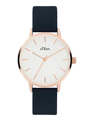 s.Oliver Damen Analog Quarz Uhr mit Kunstleder Armband SO-3936-LQ