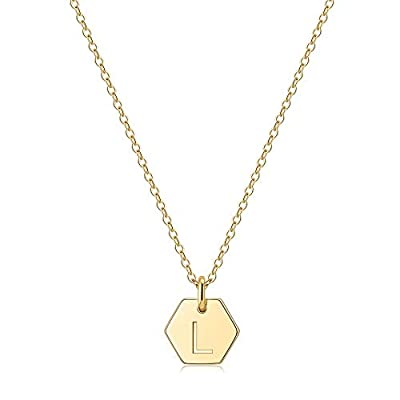 Amazon - Save 55%: Hexagon Initial Necklace for Women, 14k Gold Filled Dainty Initial Letter Pend…