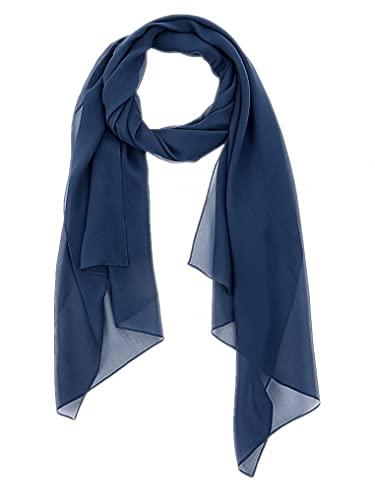 prettystern Damen-Schal langer einfarbig festliche stola Seiden-Tuch Schulter-Tuch Seiden-schal Dunkel-Blau
