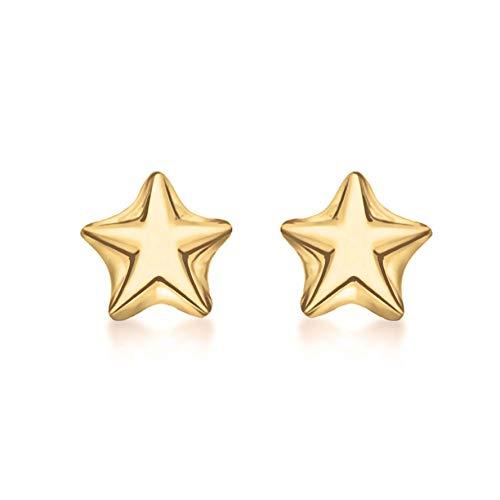Tuscany Silver Pendientes De Botón De Estrella Chapados En Oro Amarillo De Plata De Ley Para Mujer - 4,8 mm x 4,7 mm