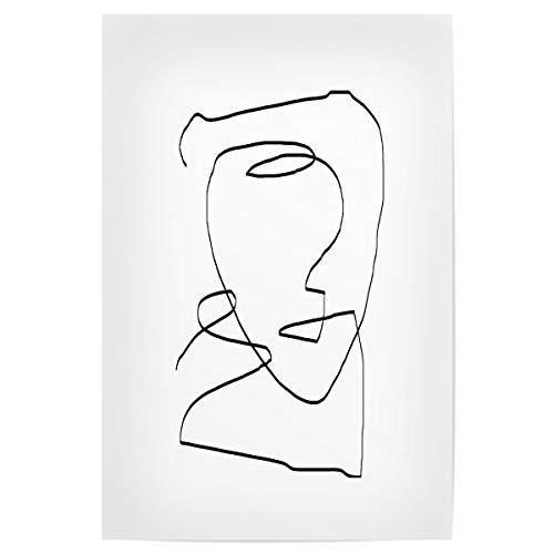 artboxONE Poster 45x30 cm Abstrakt Abstract Head hochwertiger Design Kunstdruck - Bild abstrakz Kopf Lineart
