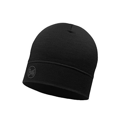 Buff Erwachsene Merino Wool 1 Layer Hat Mütze, Schwarz, One Size