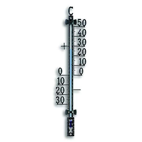 TFA Dostmann Analoges Außenthermometer, 12.5001.01, aus Metall, mit freistehenden Gradzahlen, wetterfest, schwarz, (L) 65 x (B) 18 x (H) 275 mm