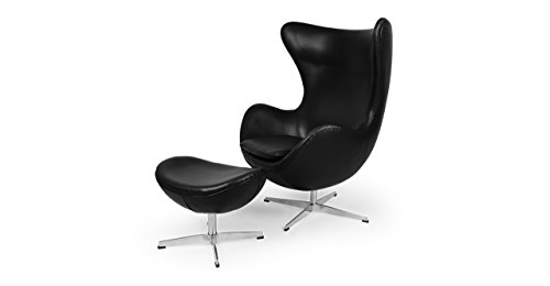 Kardiel Egg Chair & Ottoman, Black Aniline Leather