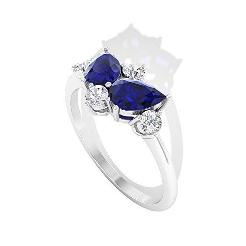 Anillo de boda con cúmulo de diamantes de zafiro azul certificado de 1,26 CT, anillo de compromiso único con forma de pera, mariposa azul, 14K Oro blanco, Size:EU 61
