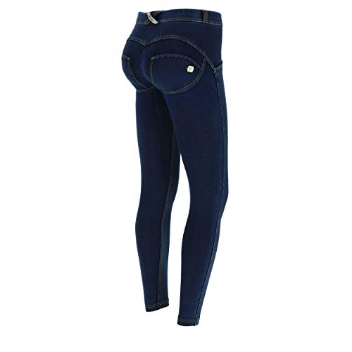 FREDDY Pantalone WR.UP® 7/8 Superskinny Vita Regular in Jersey Effetto Denim Scuro - Jeans Scuro-Cuciture Gialle - Small