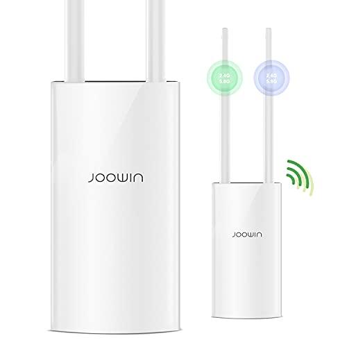 JOOWIN Punto di Accesso WiFi Esterno1200Mbps Outdoor Access Point Wireless WiFi con PoE, Dual Band 2.4GHz&5.8GHz Amplificatore WiFi Impermeabile, 2 Antennas, Modo AP/Ripetitore/Router/Bridge