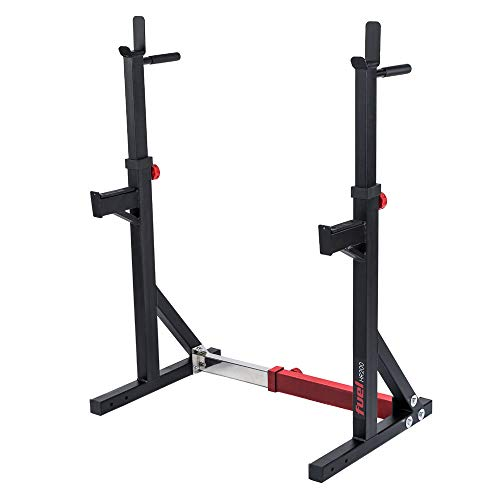 Fuel Fitness HR200 Verstellbarer Kniebeugeständer mit Sicherheitsablagen, in Breite und Höhe verstellbare Hantelablage, Squat Rack mit Langhantelständer, mit Dip-Griffen, bis 180kg belastbar