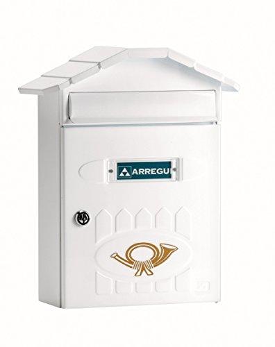 Arregui Villa E5001 Individueller Briefkasten aus Stahl, Größe M (DIN A4), Weiß, 36 x 29,8 x 12 cm